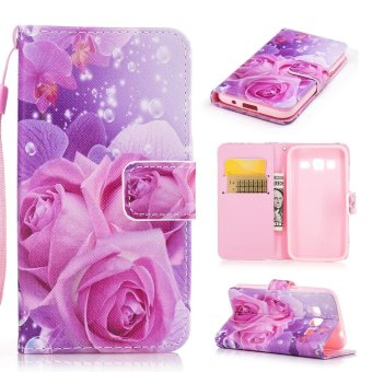 Harga Moonmini Case for Samsung Galaxy Core Prime G360 Leather Case Flip Wallet Stand Cover - Roses - intl