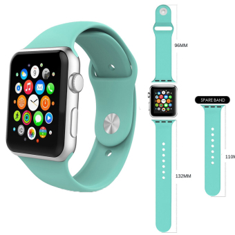 Harga 3 pcs Sport Silicone Bracelet Strap Band For iwatch Apple Watch 38mm (Mint Green)
