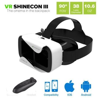Harga Shinecon VR 3.0 VR BOX Google Cardboard Virtual Reality 3D Glasses VR Headset for Smartphone Game Movie with Bluetooth Controller - intl