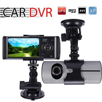 "Harga 2.7"" LCD HD Car DVR Dual Camera Driving Recorder Car Camera Dash-Cam GPS Logger G-Sensor"