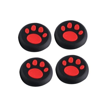 Harga 4Pcs Replacement Cat Paw Silicone Controller Joystick Grip Cap Cover For PS3 PS4 XBOX Red