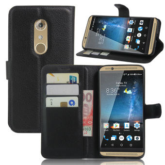 Harga PU Leather Wallet Case Cover For ZTE Axon 7 (Black)