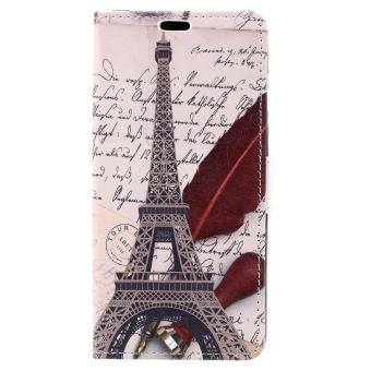 Harga Patterned Wallet Leather Case Shell for Xiaomi Redmi Note 4 - Eiffel Tower and Feather - intl