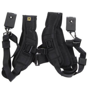 Harga VAKIND Quick Rapid Double Dual Shoulder Sling Belt Strap for TwoDSLR Digital Camera (Black)