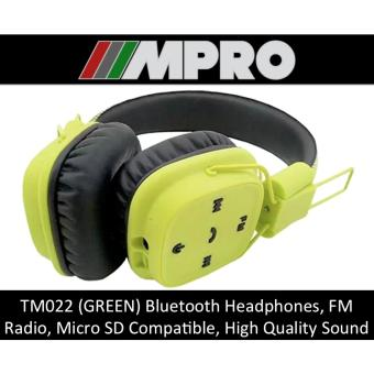 Harga TM022 Wireless Bluetooth Over-Ear Headphones, Micro SD Card Support, Handsfree Stereo Headset (SINGAPORE SELLER) (GREEN)