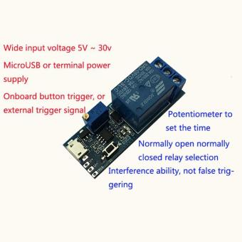 High Quality Brand New 5V -30V Delay Relay Timer Module Trigger Delay Switch Micro USB Power Tool (Blue) - 2