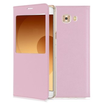 Harga Flip Leather Wallet View Window Skin Case Cover For Samsung Galaxy C9 Pro - intl