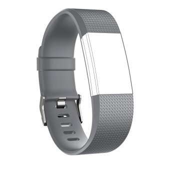 Harga Seeme Band for Fitbit Charge 2, Soft Silicone Adjustable Replacement Sport Strap Band for Fitbit Charge2 Heart Rate + Fitness Wristband (Grey)