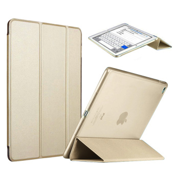 Harga Slim Tri-fold PU Leather Case Smart Cover for Apple iPad Mini 4 (Gold)