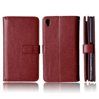 Harga Moonmini PU Leather Flip Stand Case Cover for Sony Xperia Z5 Premium Z5 Plus (Brown)