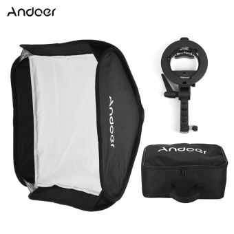 Harga Andoer Photo Studio Multifunctional 40 * 40cm Folding Softbox with S-type Handheld Flash Speedlite Bracket with Bowens Mount and Carrying Bag for Portrait or Product Photography - intl