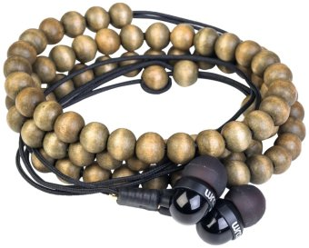 Wrap Wooden Beads In-ear headphone with mic (Brown)