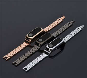 Stainless Steel Wrist Wristband Strap for Xiaomi Mi Band 2 in Black - 2