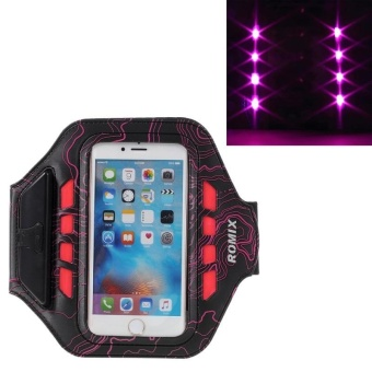 Harga ROMIX LED Phone Sports Arm Bag for iPhone 6s Plus/6 Plus iPhone7 Plus OPPO R9 R9s Samsung GALAXY J7 Galaxy On7 note4 (5.5 inch) Armband Case Cover with Touch Screen and Charging Port - intl