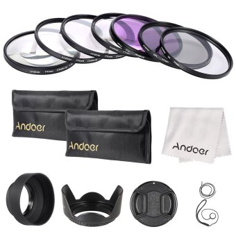 Harga Andoer 77mm UV/CPL/FLD/Close-up(???) Lens Filter Kit with Carry Pouch/Lens Cap/Lens Cap Holder/Tulip & Rubber Lens Hoods/Lens Cleaning Cloth (EXPORT)