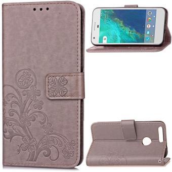 BYT Flower Debossed Leather Flip Cover Case for Google Pixel XL (Grey) – intl