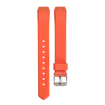 Harga VAKIND Luxury Silicone Band Strap Buckle for Fitbit Alta Twill Strap (Orange)