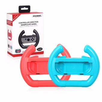 Harga 2Pcs Joy-con Steering Wheel Controller Handle Holder Grip For Nintendo Switch(Red and Blue) - intl
