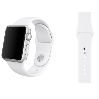 Harga Soft Silicone Watch Band Strap With Connector Adapter For Apple Watch iWatch 38mm (White)