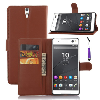 Harga Moonmini PU Leather Flip Stand Cover Wallet Card Holders for Sony Xperia C5 Ultra (Brown)