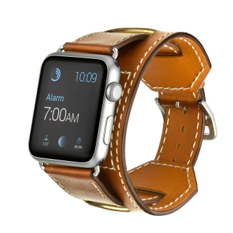 Harga Miimall Genuine Leather Smart Watch Band Cuff Strap Replacement for 42mm Apple Watch iWatch (Brown) - Intl