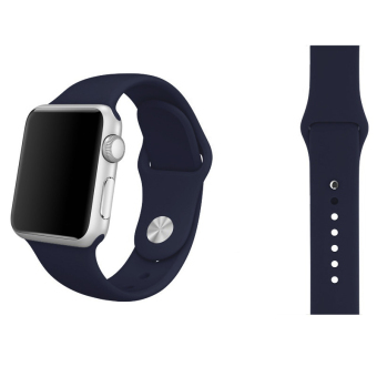 Harga Soft Silicone Watch Band Strap With Connector Adapter For Apple Watch iWatch 38mm (Midnight Blue)