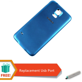Harga Replacement White Battery Door Back Cover with Rubber Seal Waterproof Gasket For Samsung Galaxy S5 (Blue) Free Replacement USB Prot