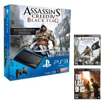 Harga PS3 500GB Console Assassin Creed IV Black Flag Bundle + FREE 1 More PS3 Game + 3 Months Warranty