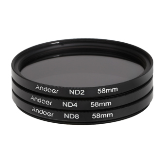 Harga Andoer 58mm Fader ND Filter Kit Neutral Density Photography Filter Set (ND2 ND4 ND8) for Nikon Canon Rebel T5i T4i EOS 1100D 650D 600D DSLRs (EXPORT)