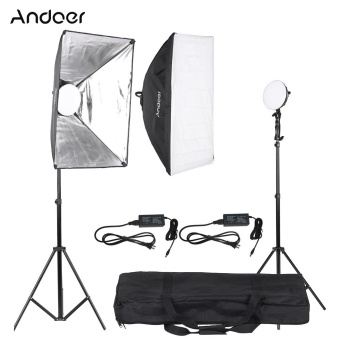 Harga Andoer LED Photography Studio Lighting Light Kit with 2 * 30W LED Lamp + 2 * Softbox * 2 * Light Stand + 1 * Carrying Bag - intl