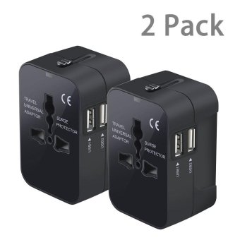 2 Pack Universal All in One Worldwide Travel Power Plug Wall AC Adapter Adaptor Charger with Dual USB Charging Ports for USA Eu Uk AUS (2 pack,Black)(Black)