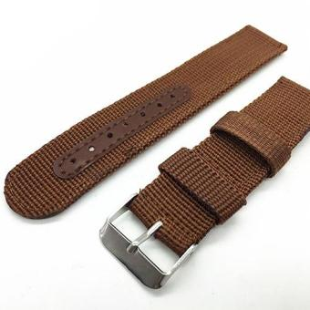 Harga Bluelans Army Nylon Wrist Watch Band Replacement Strap 20mm - Brown