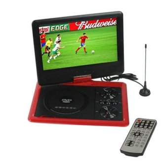 Harga Zen Portable DVD Player TFT Color LED TV 9.8 inch with Swivel and Rechargeable Battery - Game-FM-MP3-3D Movies compatible(Red) - NS-958[EXPORT]