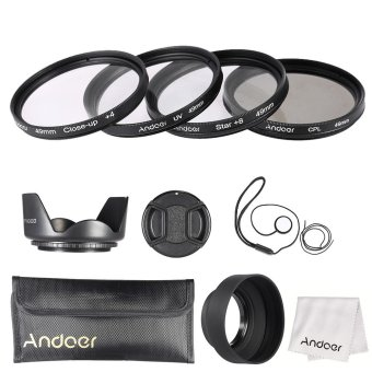 Harga Andoer 49mm Lens Filter Kit (UV + CPL + Star+8 + Close-up+4 ) with Lens Cap + Lens Cap Holder + Tulip & Rubber Lens Hoods + Cleaning Cloth Outdoorfree