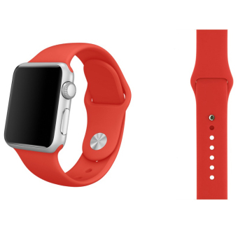 Harga Soft Silicone Watch Band Strap With Connector Adapter For Apple Watch iWatch 42mm (Red)