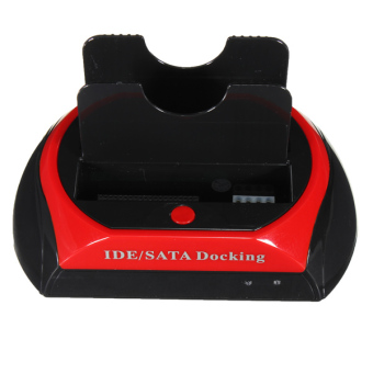Harga USB 2.0 Dual HDD Hard Drive Disk Docking Station OTB US Plug