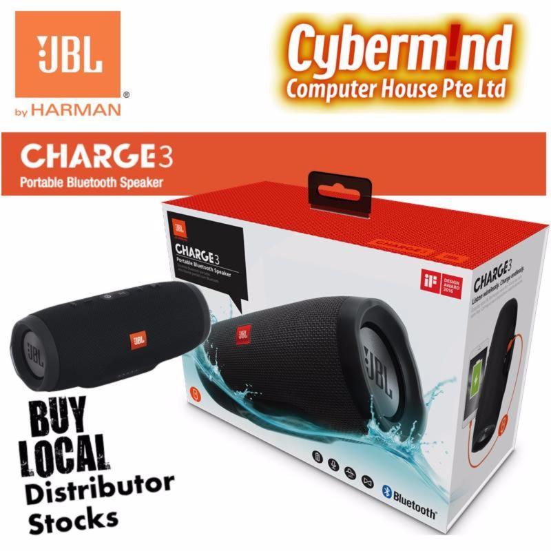 JBL Charge 3 Portable Waterproof Bluetooth Speaker (Black) Singapore