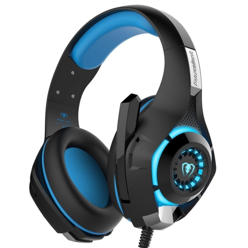 niceEshop GM-1 3.5mm Gaming Headset LED Light Over-Ear Headphones With Volume Control Microphone For PC Xbox One Laptop Tablet PlayStation 4 (Blue+Black) - intl Singapore