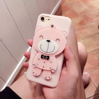 Pink mirror bear iphone8 mobile phone shell apple 6 s 7plus creative silicone mobile phone sets female models lanyard