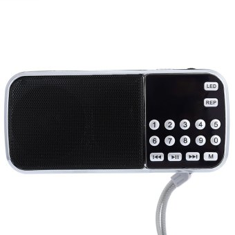 Portable FM Radio Speaker Music Player USB AUX Input(Red) - intl