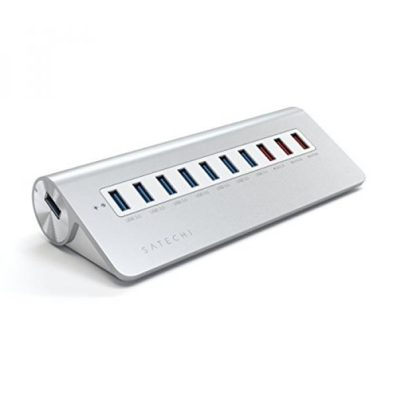 Satechi 10 Port USB 3.0 Premium Aluminum Hub with 7 Data Ports and 3 Charging Ports (White Trim) - intl