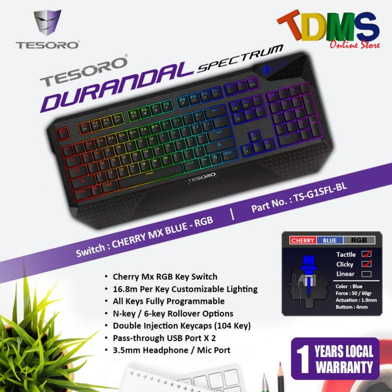 TESORO DURANDAL SPECTRUM Mechanical Black Gaming Keyboard with Cherry MX RGB Blue Switch Singapore
