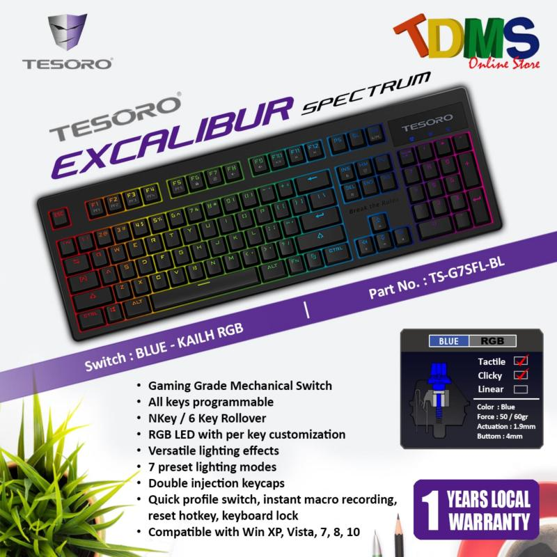 TESORO EXCALIBUR SPECTRUM RGB LED Backlit Mechanical Black Gaming Keyboard - KAILH RGB BLUE SWITCH Singapore
