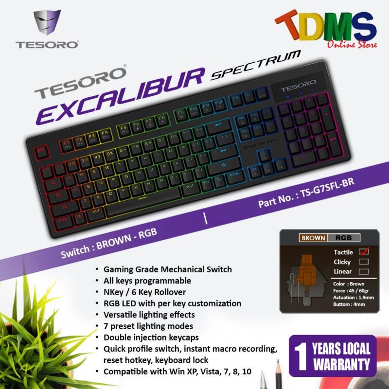 TESORO EXCALIBUR SPECTRUM RGB LED Backlit Mechanical Black Gaming Keyboard - KAILH RGB BROWN SWITCH Singapore