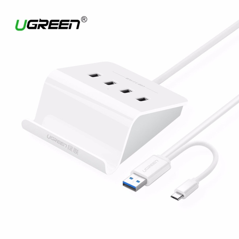 UGREEN 4 Port USB 3.0 Hub 5Gbps SuperSpeed Data Hub with Phone Stand 1m Cable for iMac, MacBook, Macbook Pro, Macbook Air, Mac Mini, Surface Pro, Chromebook and PC - intl