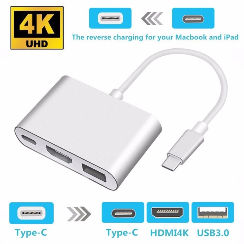 USB-C to HDMI Adapter 4K USB 3.1 Type C to HDMI Multiport Digital AV Converter with USB 3.0 Port and USB C Charging Port for Mac/ Chromebook Pixel - intl