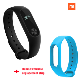 Xiaomi Mi Band 2 Smart Bluetooth Wristband+Blue Replacement Strip (Bundle)