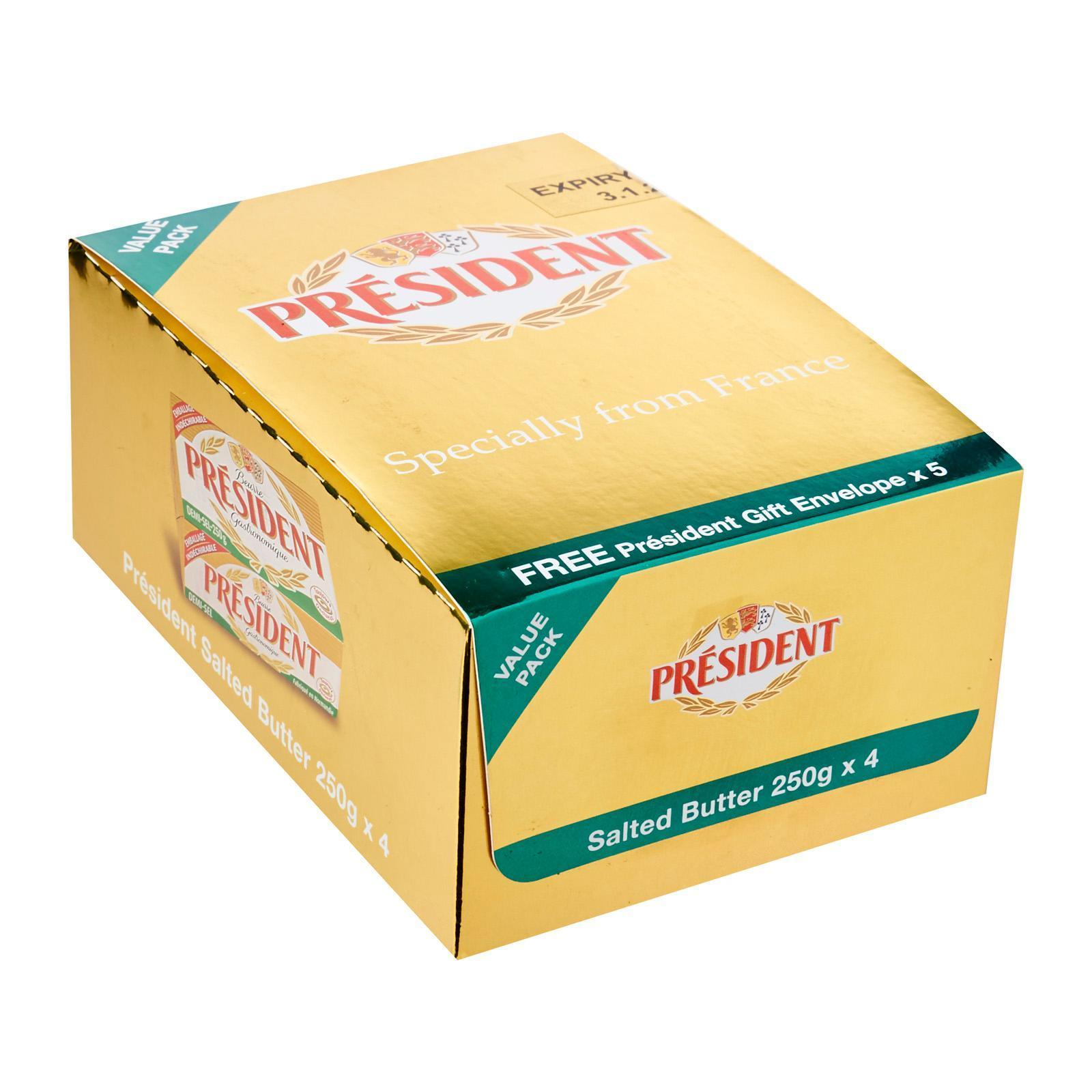 President Butter Unsalted Value Pack 4s 250g