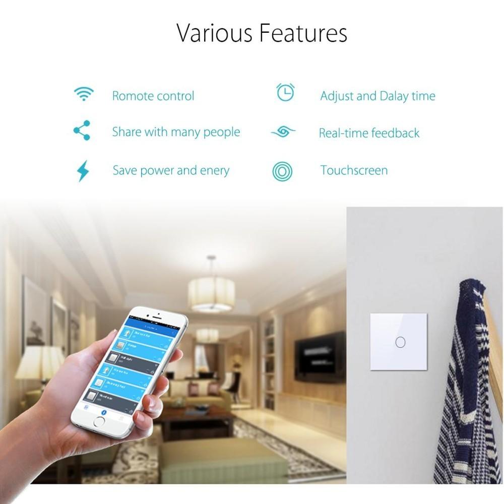 1 Gang Way Wifi Smart Wall Light Remote Control Switch For Amazon 3 Alexa Echo