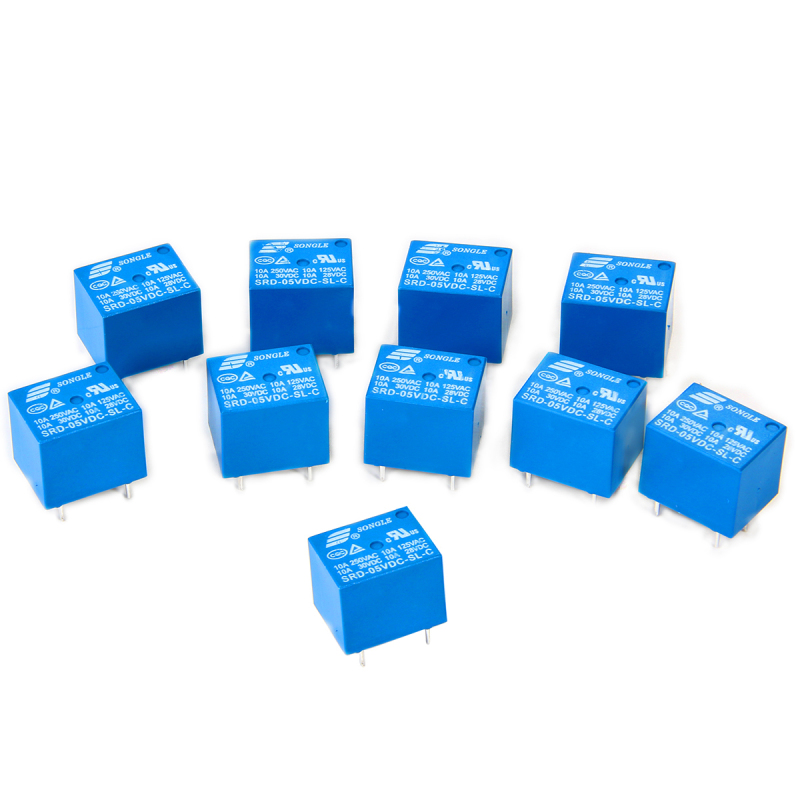 10pcs 5V Mini Electromagnetic Power Relay SPDT 10A PCB Mount 5-Pins Household Appliances Control BI085-SZ